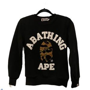 BAPE 1st camo college embroidered crewneck black